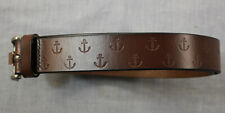 Tommy Bahama Mens Brown Nautical Anchors All Over Leather Belt  L 36 - 42  $88