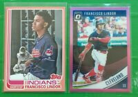 (2) Francisco Lindor color LOT! 2017 Archives Peach 006/199 2018 Optic Pink