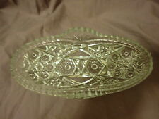 VINTAGE PRES CUT Clear Glass Oval Relish Dish by McKee Glass Co.