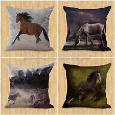 set of 4 couch throw pillow case horse pillow cushion covers equine