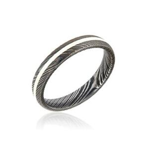 New 4mm Wide Damascus Steel Ring with Silver Inlay