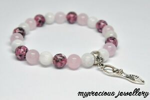 Natural Bracelet Gemstone Fertility Pink Quartz Moonstone Jasper  Healing IVF UK