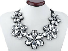 Black Satin Large Clear Crystal Five Flowers Faux Leather Backing Bib Necklace