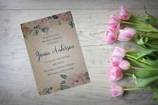 Personalised Hen Party Do Night Invite Invitation X 10 Kraft Floral Vintage HP6