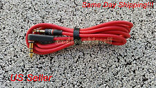 3.5mm Replacement  Audio Cable/ L Cord/ for Beats Dr Dre Headphones Aux Red-New