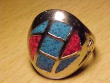 TURQUOISE  & RED CORAL   RING   SIZE 10