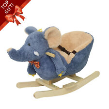 Elephant Style Rocking Horse Toddler Ride on Toy Seat Belt Music Kids Play Gift