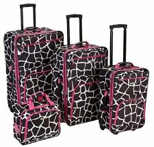 Rockland 4 Piece Luggage Sets - Pink Giraffe
