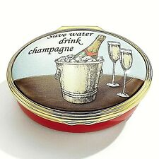 "Halcyon Days, ""Save Water, Drink Champagne"", Hinged Enamel Box New In Box"
