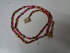 Old Glass Bead Christmas Garland - Pink Ribbed & Gold Seed Beads