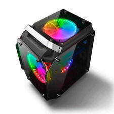AlphaBetaPC Tempered Glass ATX Computer Case Air Cool PC Case with RGB Fans