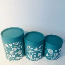 Nesting Gift Boxes Stackable Set of 3 Round Green With Silver Floral Print