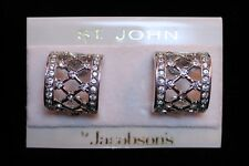 St. John Crystal Rhinestone Hoop Clip On Earrings Jewelry Card Original Hang Tag
