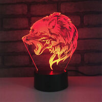 Wolf Head 3D Night Light 7 Color Change LED Desk Lamp Touch Room Decor