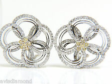 2.40CT NATURAL YELLOW DIAMONDS 3D FLOWER CLUSTER  EARRINGS 14KT