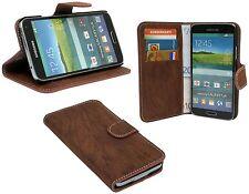 BOOK-Style Zubehör Hülle Case für Samsung Galaxy S5 G900F Braun +SCHUTZFOLIE