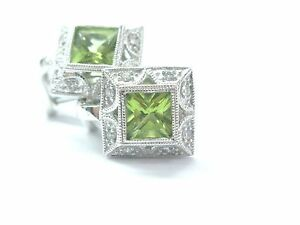 14Kt Square Green Peridot & Diamond Milgrain White Gold Huggie Earrings 2.16Ct