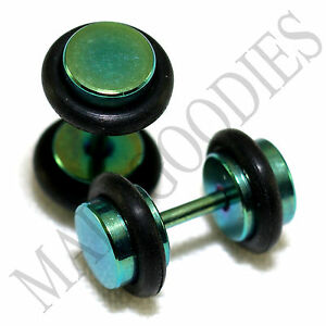 2104 Fake Cheater Illusion Faux Ear Plugs 16G Surgical Steel 2G 6mm Green Small
