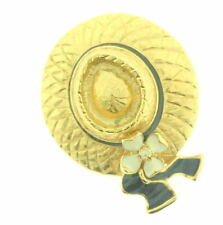 St John Knit GOLD BLACK WHITE Hat  SJ LOGO  Brooch Pin
