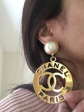 Vintage Iconic Runway Chanel Pearl Huge Dangle Earrings Signed Authentic