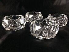 Vintage Individual Glass Salt Cellars Pressed Cut Polished  (4) Open Salts