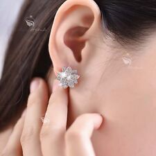 18k white gold filled made with SWAROVSKI CZ crystal lotus earrings stud classic