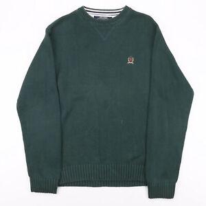 Vintage TOMMY HILFIGER Green 00s Round Neck Cotton Plain Jumper Mens S