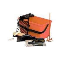 Professional Tiler Tool Set Tiling Kit Grout Float Bucket & Notched Trowel Mixer
