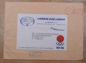 Mayfairstamps Mexico 1964 Japan Airlines tokyo Olympics Label to Germany Metered