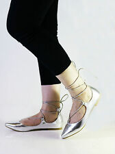 Womens Ladies Flats Ballerina Lace Up Loafers Pointy Toe Summer Pumps Shoes Size