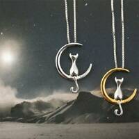 925 Silver Cats Moon Pendant Necklace Charm Chain Necklaces Women Jewelry Gifts