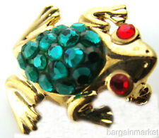 Toad Brooch Pin Green Crystal Frog