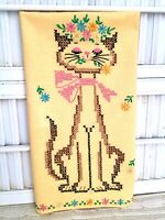 "Vintage CROSS STITCHED CAT Dish Towel Golden Yellow w/Flowers 16"" X 26"" NEW"
