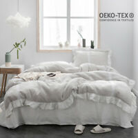 Simple&Opulence 100% Stone Washed Linen Ruffled Flax Duvet Cover Set