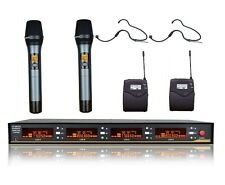 4x100 Channel UHF Wireless Handheld Headset Professional Microphone Mic System