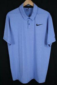 Nike Golf Mens sz XL Blue White Striped SS Standard Fit Dri Fit Polo Shirt