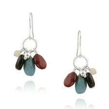 925 Silver Lab Created Turquoise Multi Colored Chips Cluster Dangle Earrings