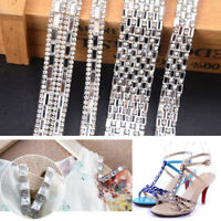 Silver Rhinestone Ribbon Beaded Iron On Applique Trim Bridal Embellishments