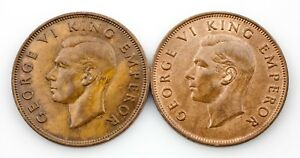 Lot of 2 New Zealand Pennies (1940 and 1943) XF - Unc Condition KM #13