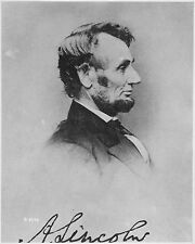 """Abraham Lincoln President Profile Portrait Signed in Plate-17"""" x 22"""" Print-00086"""