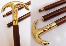 Navy Solid Brass Brown Wooden Walking Cane Brass Anchor Head Handle Stick Gift