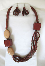 """Inlaid Wood Bubblegum Big Beads w Small Brown Wood Beads. 26"""" Necklace Set.  NWT"""