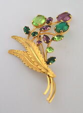 VINTAGE VAN DELL GOLD FILLED FLOWER PIN WITH PURPLE & GREEN GLASS STONES