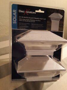 **NIB** SOLAR  DECKorators 2-pack, 2.5 inch Solar Pyramid Post Cap NO WIRING