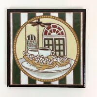 Cafe du Monde New Orleans Ceramic Tile Trivet Coffee Beignets 8x8 Jennifer Roche
