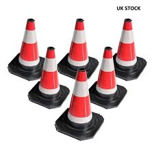"6 X Road Traffic cones 18"" (450mm) Self weighted safety Barriers Control Sign"