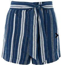 Monsoon Lydia Linen Blend Striped Shorts UK 18 Navy