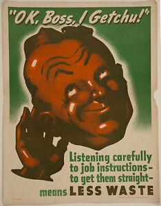 Rare 1943 World War II-Era Home Front Conservation Poster 'OK, Boss, I Getchu!'