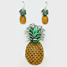 Pineapple Pendant Earrings Set Metal Enamel Welcome Jewelry Beach SILVER YELLOW