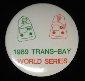 1989 World Series _RARE Oakland A's San Francisco Giants Button Pin - hat/jacket